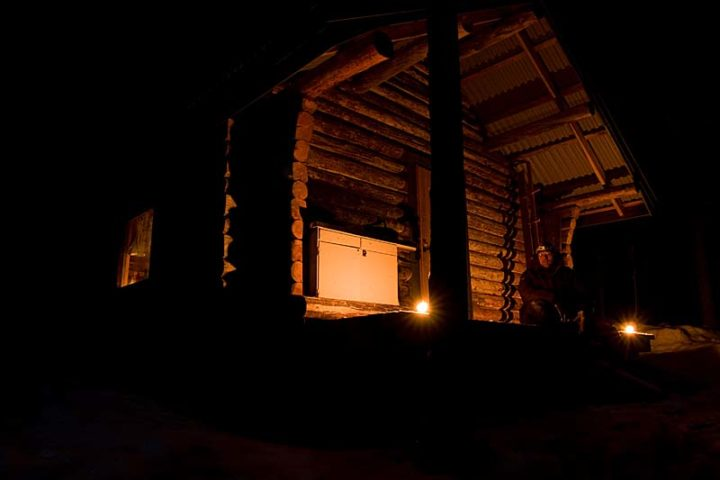 """Wilderness cabin without electricity."