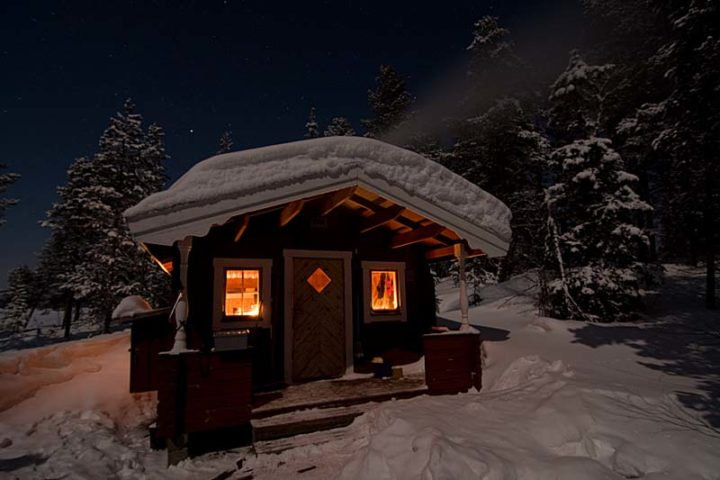 Camp Laxholmen in moon light.