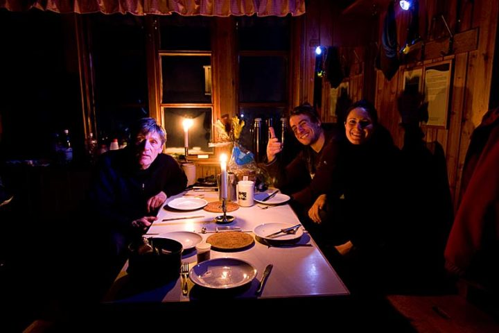 """Dinner in Hukejaure. From left; David, Thibault and Angie."