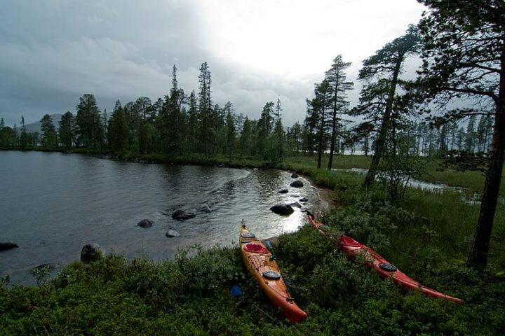Rain, dark clouds and some sunshine. Multi weather tours in Swedish Lapland.