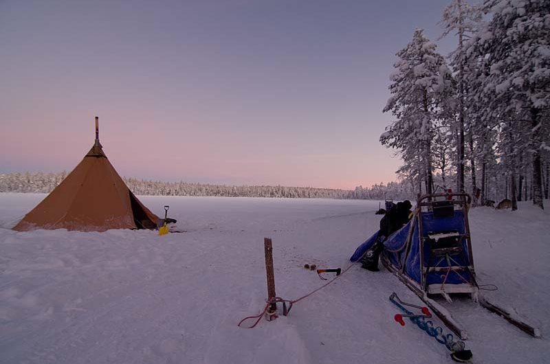 Tentipi camp at the Arctic Circle south from Jokkmokk.