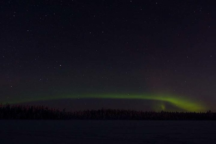 Northern light at the Arctic Circle, south from Jokkmokk.