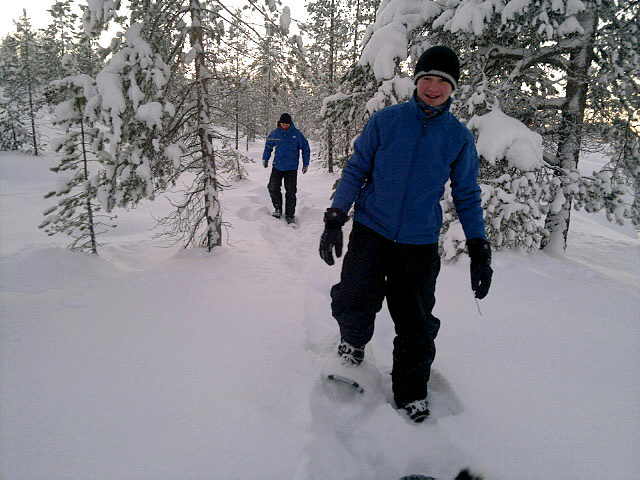 Trying snow shoe walking. In deep snow it's not as easy as it looks.