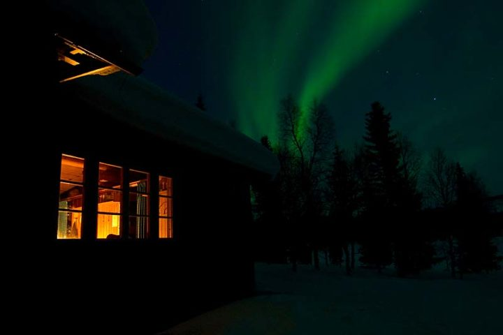 Northern light, Aurora Borealis outside the Pårte cabin