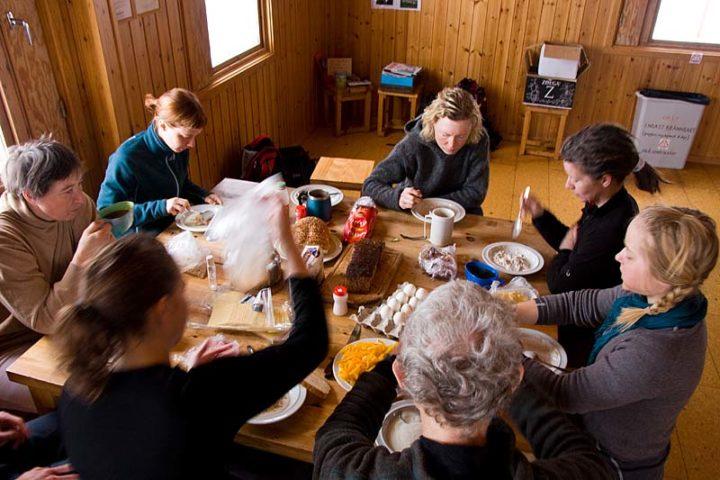 Breakfast in Sitojaure cabin before heading back to Saltoluokta.