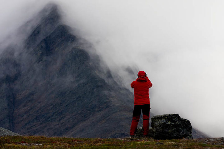 Low clouds over high mountains. Between Singi and Kebnekaise.