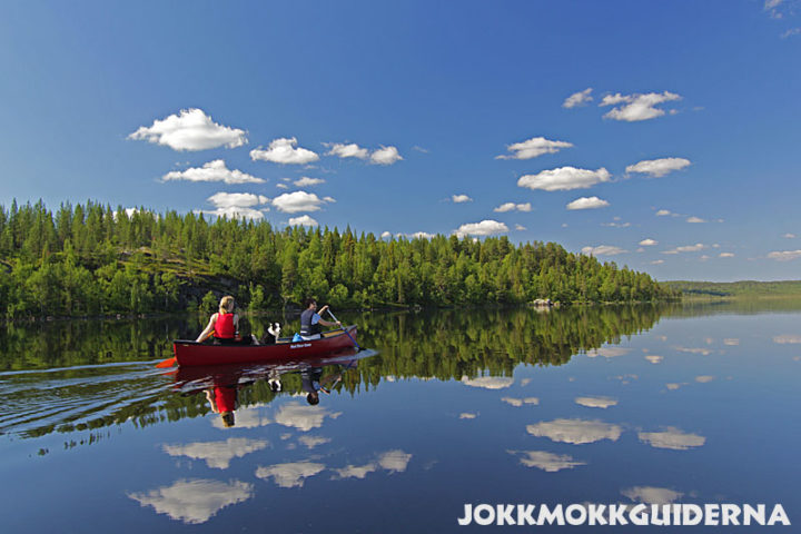 Mirror shiny lakes where you get the feeling of flying. Lake Skabram in Jokkmokk.