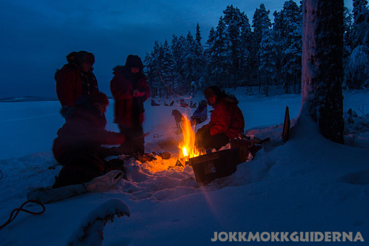 The mid winter days are short and we make cozy camp fires in the forest land of Jokkmokk.