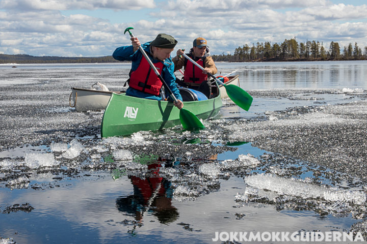 Paddling on icy waters
