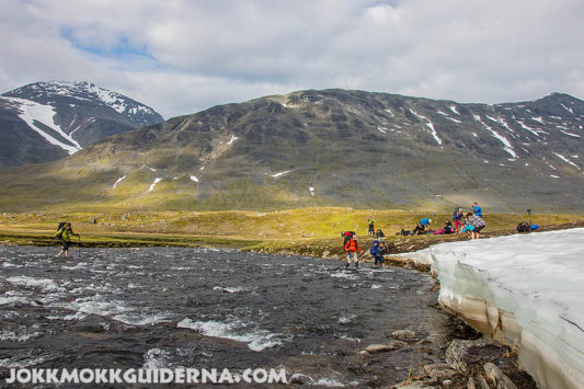 River crossing in Sarek National Park