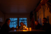 Evening picture inside Singi mountain hut on the tour: Sled dog adventure through Sjaunja and Kebnekaise