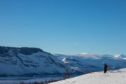 Mighty view along the King's trail on the dog sled trip With dog sled to the Gate of Sarek National Park.