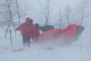 Set up of hilleberg tent in storm. Photo from Explore Sarek National Park.