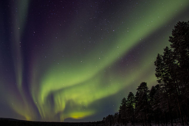 Mighty Northern lights in Swedish Lapland.