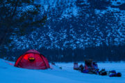 Dogsleds, huskies and hilleberg tent on the tour The Final Spring adventure.