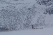 2 dog teams in the swedish mountains on the adventure A Taste of Sarek National Park