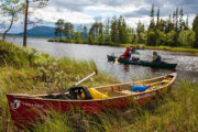 Canoeing in the Pearl river Nature Reserve, Swedish Lapland. Mad river canoes.