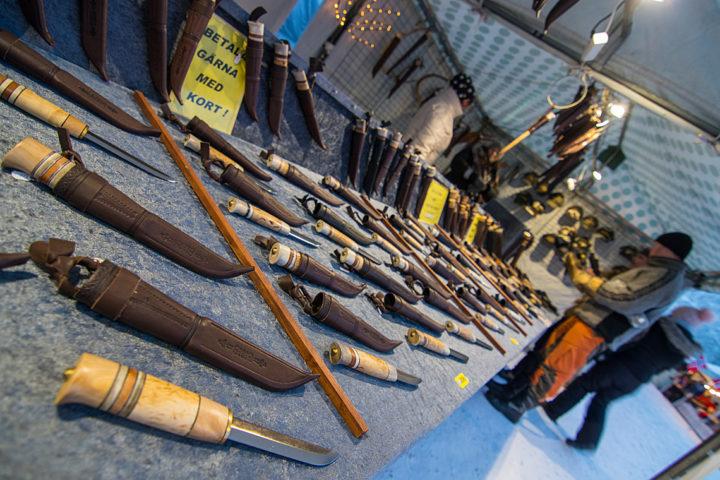 Jokkmokk winter market. Handicraft knives