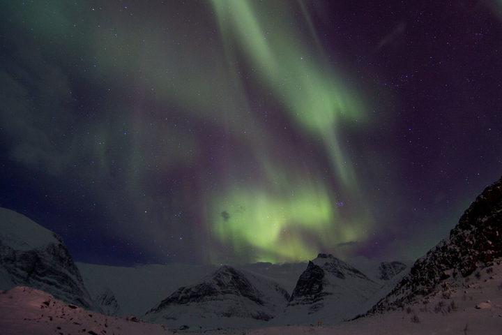 Norhtern lights Aurora Borealis over Kebnekaise.