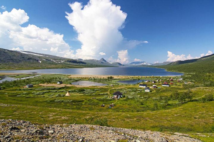 Pietjsjaure Sami settlement south from Saltoluokta King's Trail