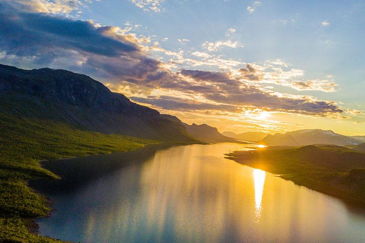 Sunset Saltoluokta. The Kings trail. Lapland Sweden.
