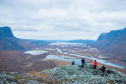 View from the the cliff Skierfe in Sarek National park. Delta landscape on the Wildlife expedition in Sarek National Park.