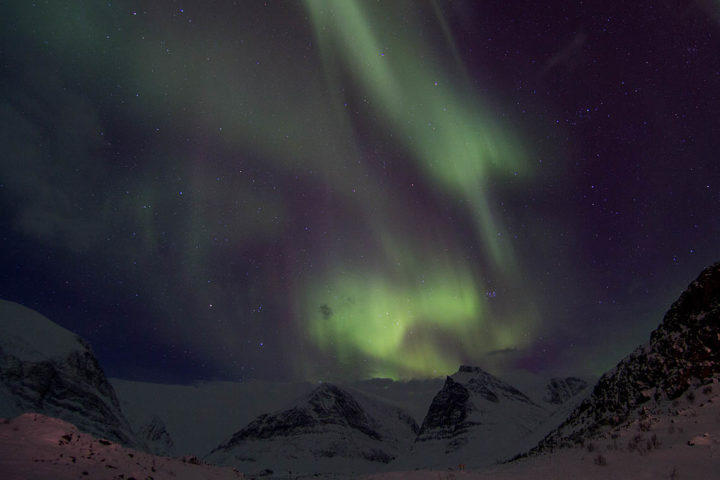 Northern lights over Kebnekaise. On a dog sled tour with Jokkmokkguiderna.