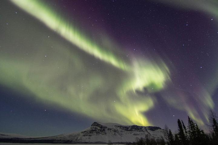Norhtern lights by Aktse in the Swedish mountains. Dogsledding with Jokkmokkguiderna.