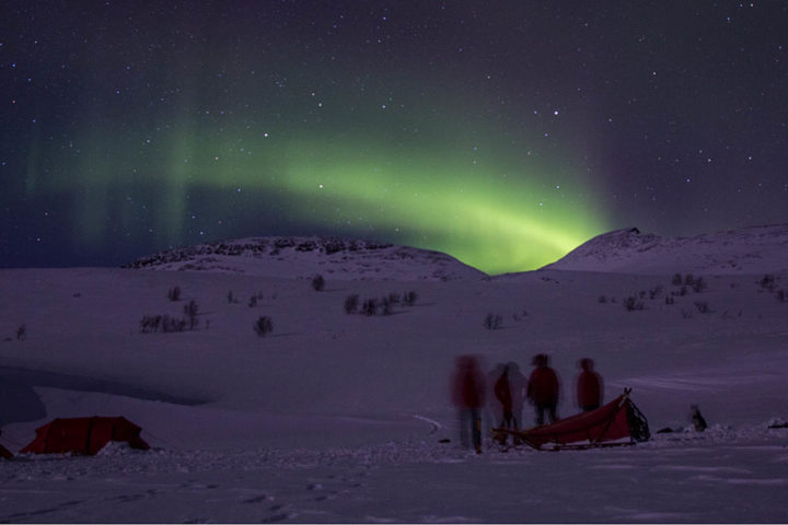 Northern lights in Sarek, people, dog sled and tent.