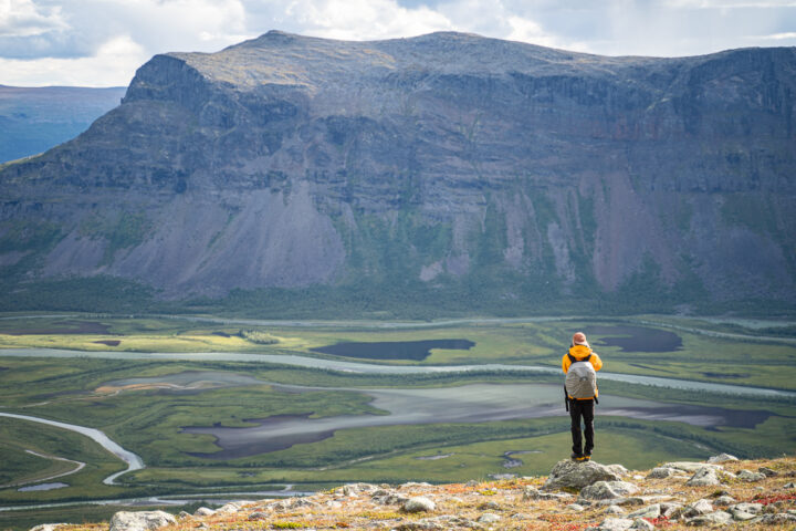 The delta of the valley Rapadalen in Sarek Nationalpark. Scouting for moose on the tour: Hiking to mount Skierfe and the gate of Sarek National Park.